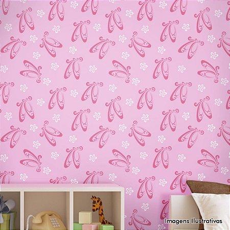 Papel de Parede Infantil Bailarina Rosa Texturizado Autocolante