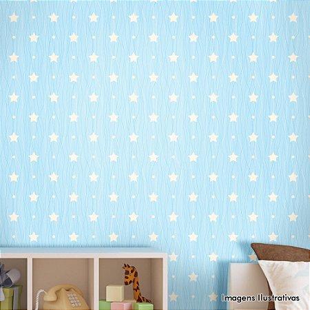 Papel de Parede Infantil Estrelinha com Fundo Azul Texturizado Autocolante