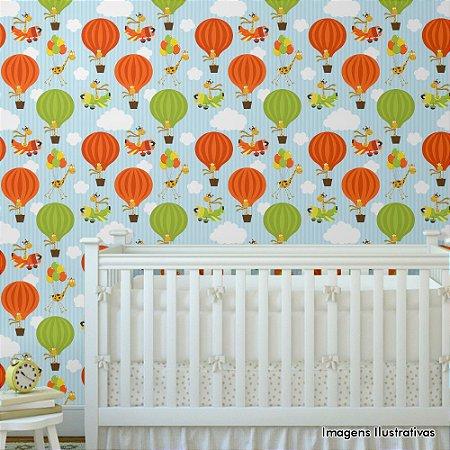 Papel de Parede Texturizado Autocolante Infantil Balões, Aviões e Girafas