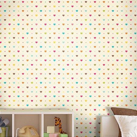 Papel de Parede Texturizado Autocolante Infantil Corações Coloridos