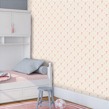 Papel de Parede Infantil Florzinha Rosa Texturizado Autocolante