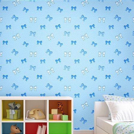 Papel de Parede Texturizado Autocolante Infantil Lacinhos Azuis