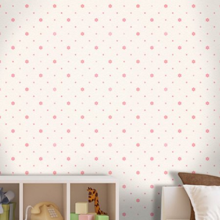 Papel de Parede Infantil Flores Rosas Texturizado Autocolante