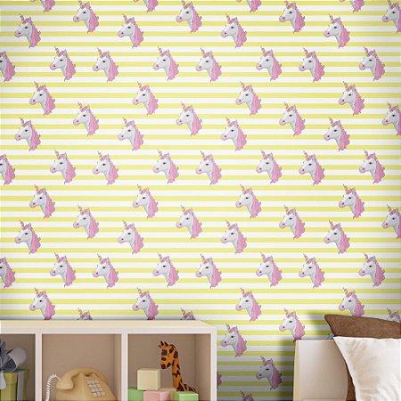Papel de Parede Texturizado Autocolante Infantil Listras Amarelas com Unicórnio