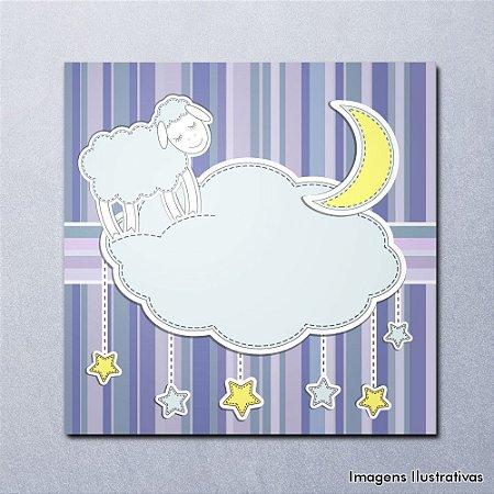 Quadro Decorativo Infantil Ovelha e Nuvem