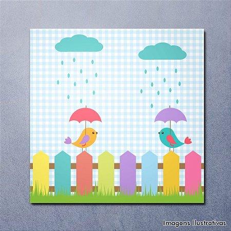 Quadro Decorativo Infantil Pássaros Colorido