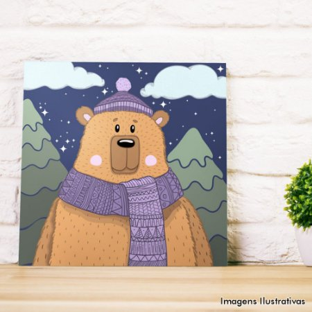 Quadro Infantil Urso Marrom