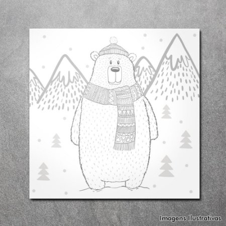 Quadro Decorativo Infantil Urso na Neve