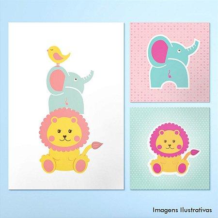 Kit Quadro Decorativo Infantil Elefante Leão e Pássaro