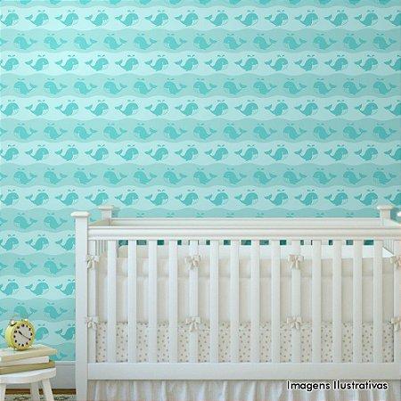 Papel de Parede Infantil Quarto de Bebe Baleia Fundo do Mar Texturizado Autocolante
