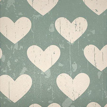 Papel de Parede Infantil Verde com Corações Branco Texturizado Autocolante