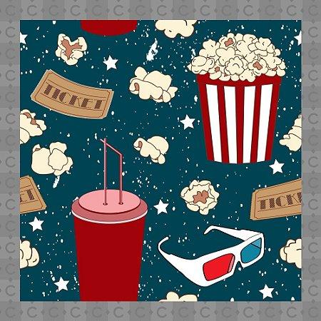 Papel de Parede Infantil Cinema Pipoca Texturizado Autocolante