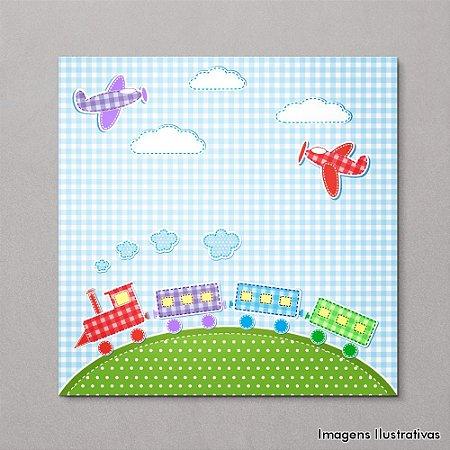 Quadro Decorativo Quarto Bebe Infantil Trenzinho e Aviões