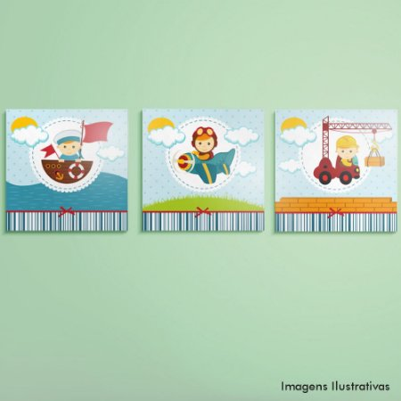 Kit Quadro Decorativo Quarto Infantil Menino Profissões