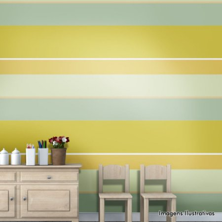 Papel de Parede Texturado Autocolante Listras Amarela, Azul e Cinza