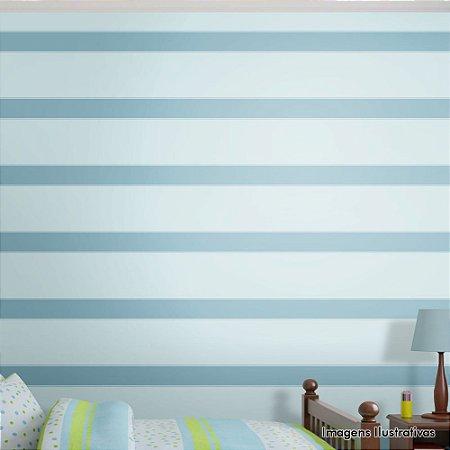 Papel de Parede Infantil Listras Horizontais Azul Texturizado Autocolante