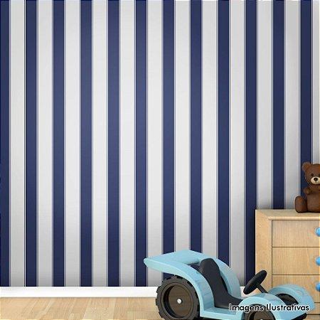 Papel de Parede Infantil Listras Verticais Azul e Branco Texturizado Autocolante