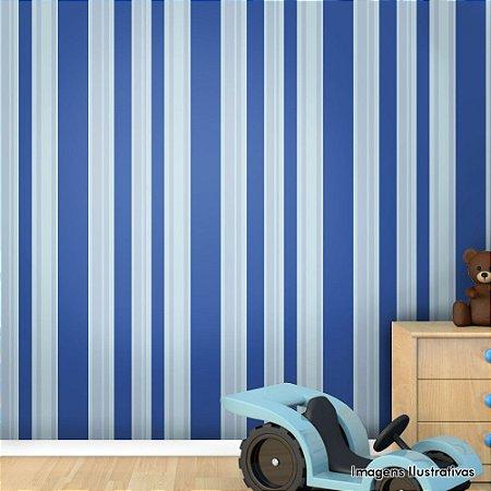 Papel de Parede Infantil Listras Verticais Azul Texturizado Autocolante