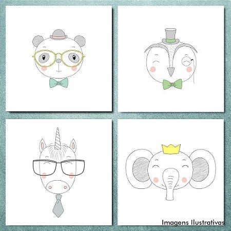 Kit Quadro Decorativo Infantil Animais Fofos