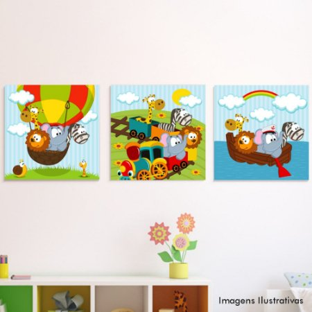 Kit Quadro Decorativo Infantil Viagem Animal