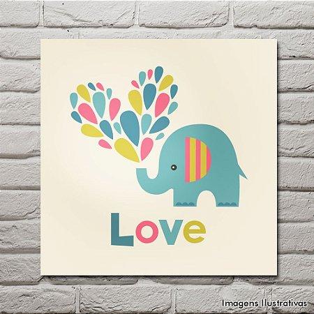 Quadro Decorativo Infantil Elefantinho Colorida