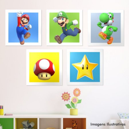 Kit Quadro Decorativo infantil Mario Bros
