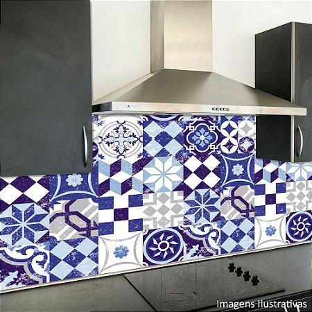 Adesivo de Azulejo Hidráulico Royal e Branco