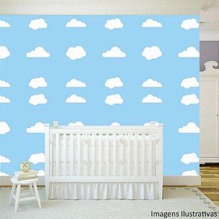 Papel de Parede Texturizado Autocolante Infantil Nuvens