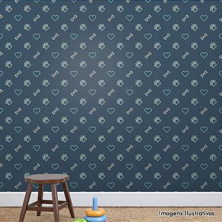 Papel de Parede Infantil Pet Azul Texturizado Autocolante