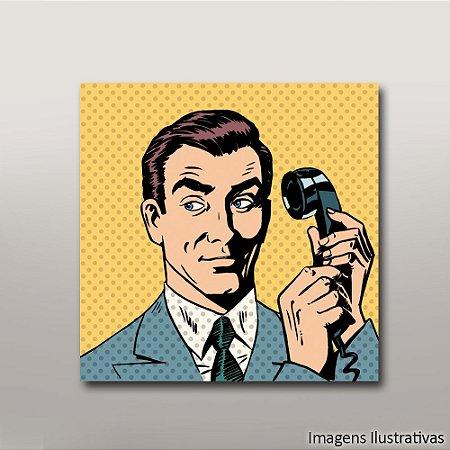 Quadro Decorativo Vintage Homem no Telefone