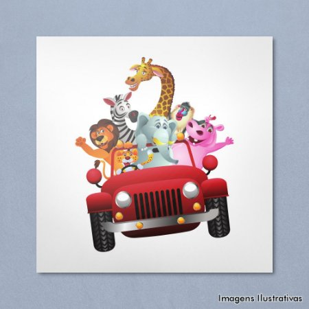 Quadro Infantil Animais Jeep Safari
