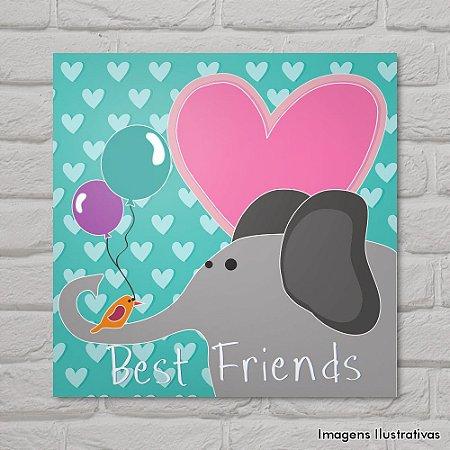 Quadro Infantil Elefante e Pássaros Melhores Amigos