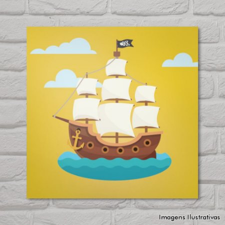 Quadro Infantil Barco Pirata