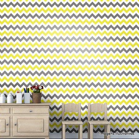 Papel de Parede Infantil Chevron Cinza, Branco e Amarelo Texturizado Autocolante