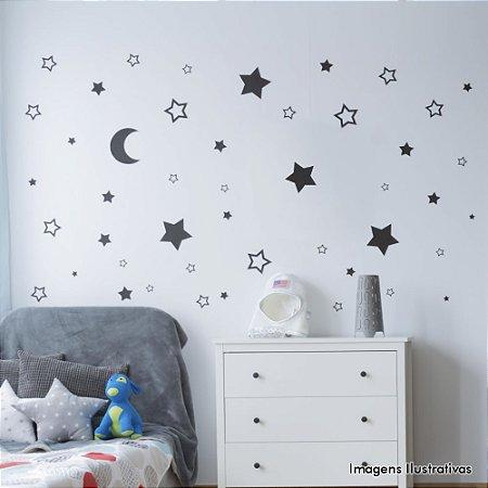 Adesivo de Parede Infantil Lua e Estrelas - Cartela com 34 Unidades