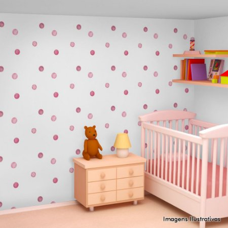 Papel de Parede Infantil Menina Aquarela Rosa Texturizado Autocolante