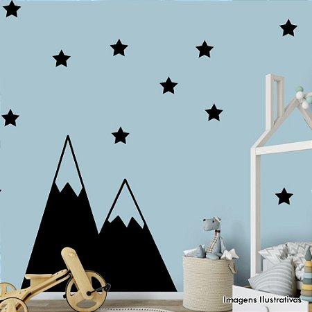 Adesivo de Parede Infantil Montanhas e Estrelas