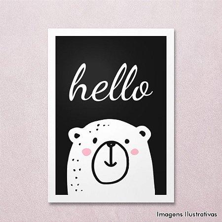 Quadro Infantil Urso Hello