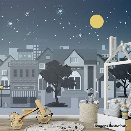 Painel de Parede Para Quarto Infantil Panorama Bairro a Noite