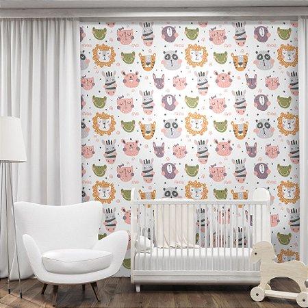 Papel de Parede Infantil Bichinhos Texturizado Autocolante