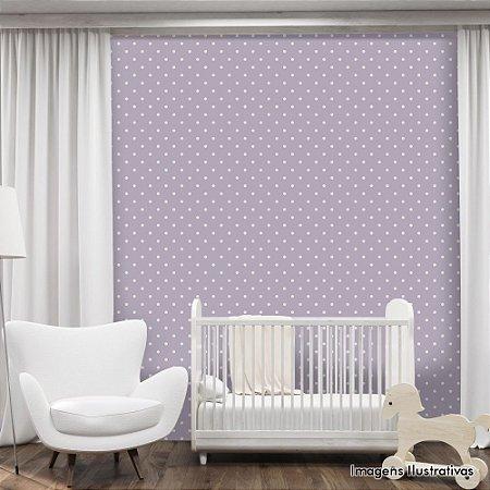 Papel de Parede Infantil Bolinhas Brancas com Fundo Roxo Texturizado Autocolante