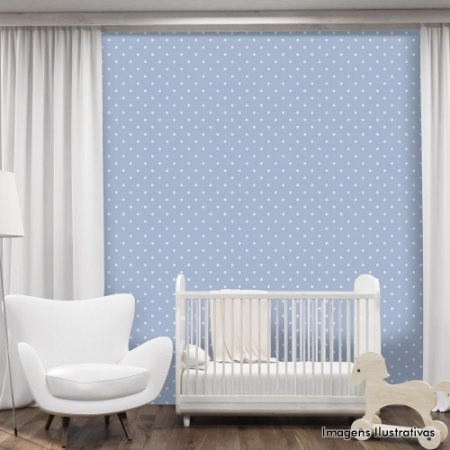 Papel de Parede Infantil Bolinhas Brancas com Fundo Azul Texturizado Autocolante