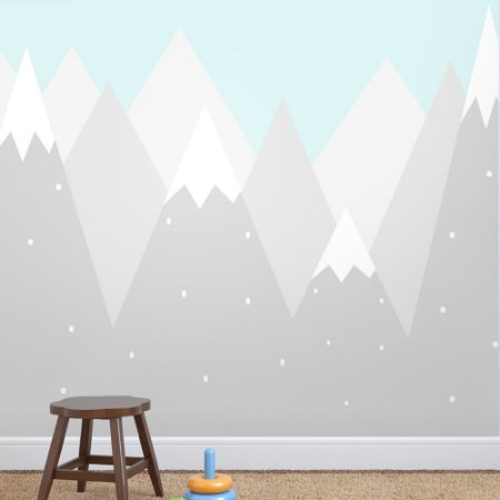 Painel de Parede Para Quarto Infantil Montanhas com Fundo Azul