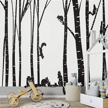 Painel de Parede Para Quarto Infantil Esquilos nas Arvores