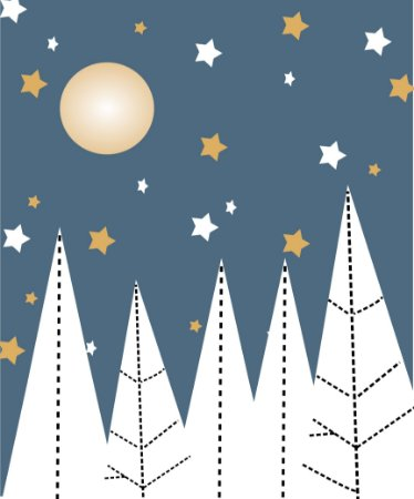 Painel de Parede Para Quarto Infantil Floresta Céu e Lua