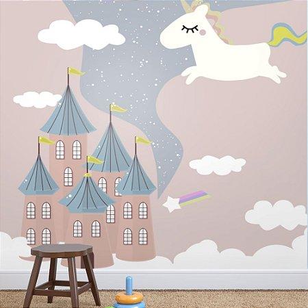 Painel de Parede Para Quarto Infantil Unicórnio no Castelo do Céu
