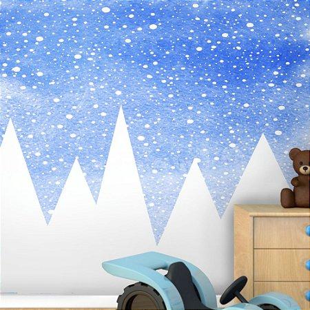 Painel de Parede Para Quarto Infantil Montanhas fundo azul