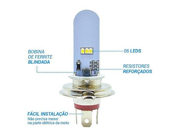 LÂMPADA FAROL LED H4 5/2,5W 12V SUPER BRANCA