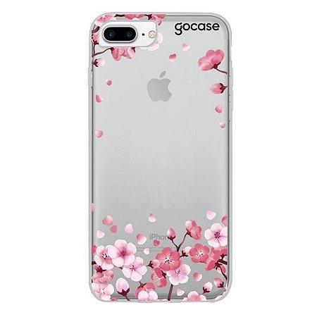 Capinha gocase para celular Pétalas de Cerejeira Glitter - Clean - IPhone 6, 7 e 8 Plus