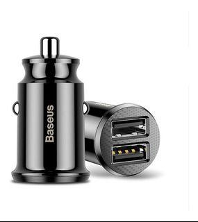 Carregador Veicular Baseus Grain 2 USB 5V 3.1A (Preto) - Lacrado na Caixa.